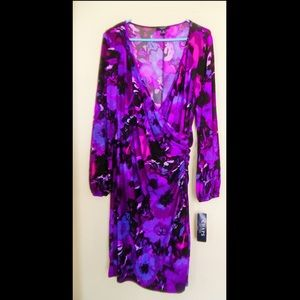 💜CHAPS💜 XL (14-16) PURPLE & PINK FLORAL DRESS